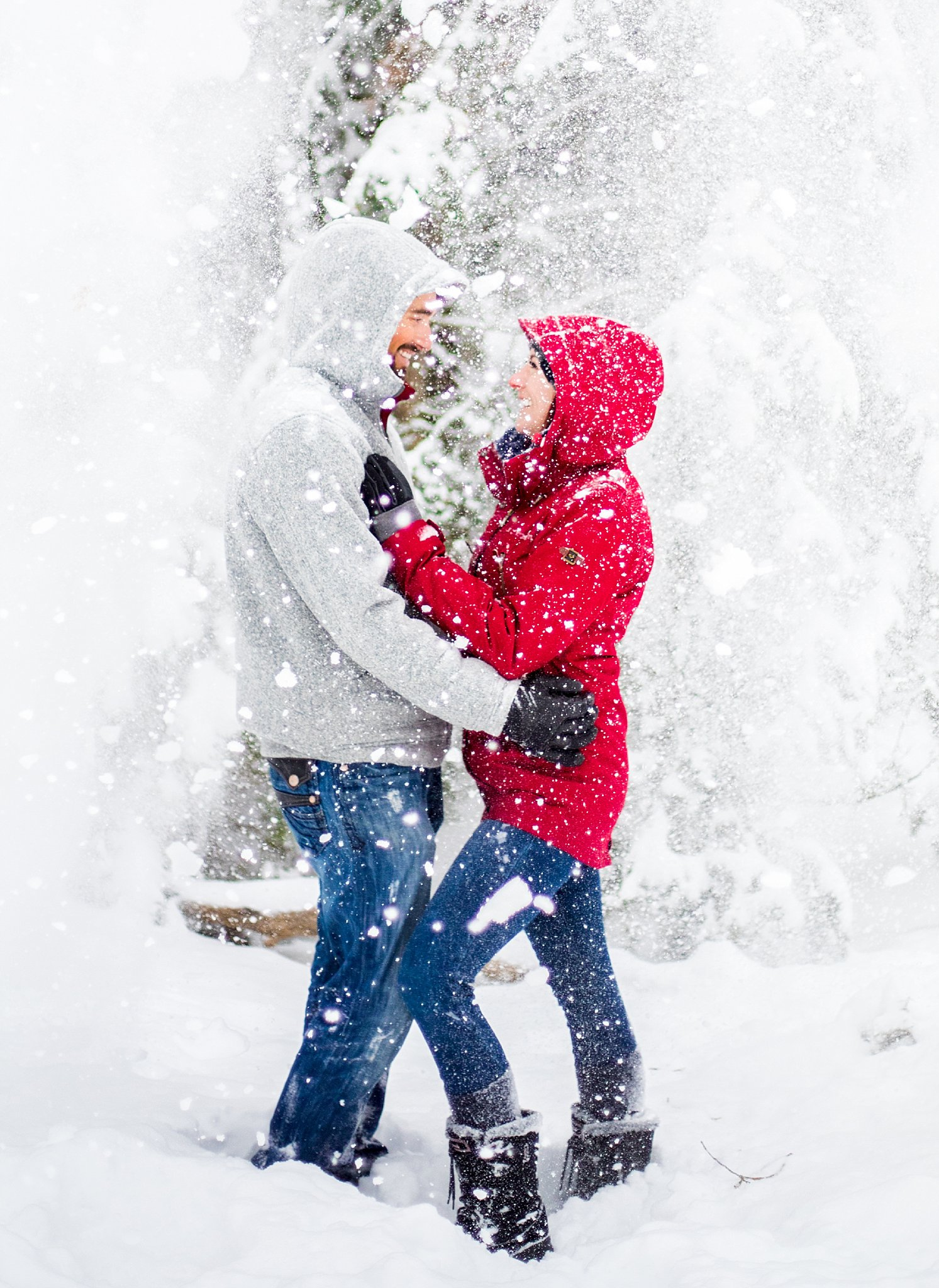 couple photography, salt lake city engagement photographer, millcreek canyon engagement photography, snowy engagement session, mountain engagement